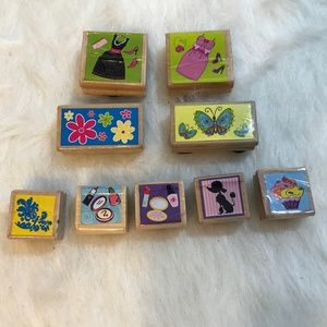 Lot of 9 Every Day Wood Mounted Rubber Stamps